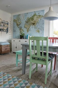 Huge world map from Ikea / Huset bed fjorden. For the boys bedroom.