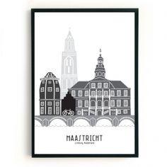 Maastricht: dan denkt Mevrouw Emmer aan de bruggen de Sint Janskerk, het stadhuis, de Sint Servaasbrug en het Bonnefantenmuseum...Deze eigenzinnige, wereldse poster is er in twee verschillende formaten, te weten:A3: 29,7 x 42 cm, hagelwit papier, 160 gramsB2: 50 x 70 cm, hagelwit papier, 160 gramsDe poster wordt in een koker, maar zonder lijst geleverd.Is dit jouw thuis, maar toch nét niet helemaal? Maak dan je wensen kenbaar en neem contact op! #skyline