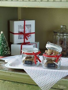 What You Have: a glass jar, red ribbon Simple glass jars can store anything from puppy treats to holiday spices! Dress up these clear storage containers with a holiday-colored ribbon for extra festivity.