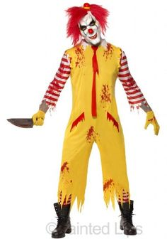 New Mens Yellow Scary Evil Clown Jester Horror Halloween Fancy Dress Costume Outfit