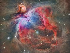 The Great Nebula in Orion, an immense, nearby starbirth region, is probably the most famous of all astronomical nebulas. Here, glowing gas surrounds hot young stars at the edge of an immense interstellar molecular cloud only 1500 light-years away. In the above deep image in assigned colors highlighted by emission in oxygen and hydrogen, wisps and sheets of dust and gas are particularly evident.