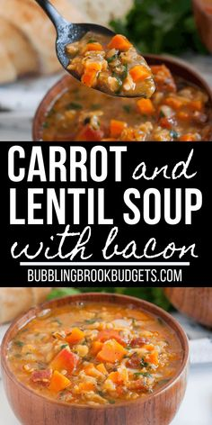 This Carrot and Lentil Soup recipe is packed full of flavor! Crispy bacon and a splash of white wine compliments the lentils and carrots, creating a hearty, filling soup that's an easy family favorite. soup cheap Easy Carrot and Lentil Soup with Bacon Easy Homemade Recipes, Carrot Recipes, Easy Soup Recipes, Cooking Recipes, Healthy Recipes, Drink Recipes, Lentil And Bacon Soup, Lentil Soup Recipes, Easy Lentil Soup