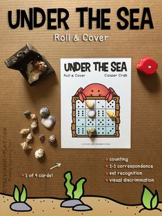Printable Under the Sea Roll & Cover game for preschool, pre-k, and kindergarten. One of 4 cards. #preschool #prek #kindergarten #homeschool #prekactivities #preschoolactivities #kidsactivities #math #underthesea #oceantheme #printables #teacherspayteachers #summer