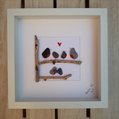 Robins Pebble Pictures, Framed Pebble Art, Birthday gift, Sea glass art, Family Pebble, unique gift, Personalised gift, kieselsteinbilder, Anselmo Pebble Art