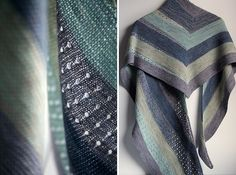 Samen by Stephen West malabrigo Lace in Stone Blue, Frost Gray, Simple taupe, Water Green and Polar Morn .