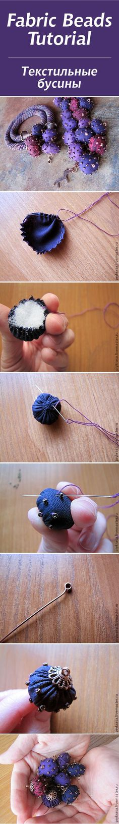 Tutoría de cuentas de tela - Fabric beads tutorial