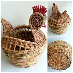 Гузель Рамазанова Newspaper Basket, Newspaper Crafts, Diy And Crafts, Arts And Crafts, Rooster Decor, Paper Beads, Diy Projects To Try, Basket Weaving, Handmade