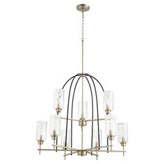 Quorum International Espy Noir And Aged Brass Nine Light Chandelier 607 9 6980 | Bellacor Classic Chandeliers, Candle Styling, Chandelier Lighting, Chandelier Style, Wall Mounted Vanity, Wall Sconce Lighting, Light, Candlelight, Chandelier