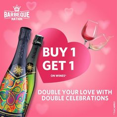Celebrate the season of love with the most romantic drinks of all time. This Valentine's Day, visit Barbeque Nation and order your favorite wine, to get another one for free. Cheers to love! Barbeque Nation, Vegetarian Menu, Most Romantic, A Table, Wines, Cheers, All About Time, Buffet, Restaurant