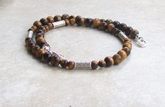 "Mens 18 3/4"" Beaded Necklace Handmade Brown Tiger's Eye, Tibetan Silver Beads #Handmade #Choker"