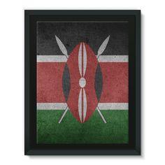 Grunge Kenya Flag Framed Eco-Canvas