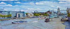 HMS Belfast and the Thames East from London Bridge Oil painting by Artist Roger Turner of The River Thames in London London Bridge, Tower Of London, In 2015, River Thames, City Art, Belfast, Tower Bridge, Clouds, Artwork