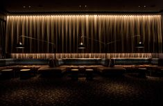Event Cinema Miranda lighting design by Electrolight - Modernes Restaurant Lighting, Bar Lighting, Interior Lighting, Lighting Design, Melodie En Sous Sol, Nightclub Design, Restaurant Interior Design, Modern Restaurant, Bar Lounge
