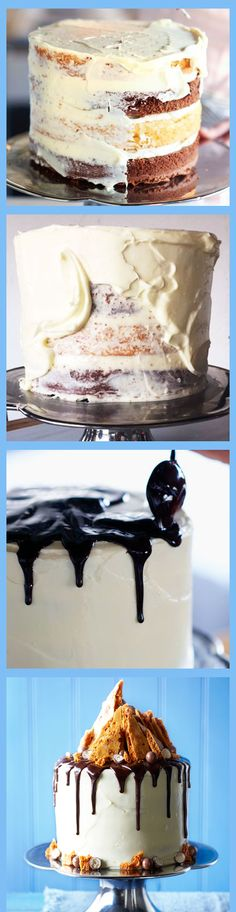 Amazing STEP BY STEP recipe! This layered cake is smothered in cream cheese icing and drizzled with a dark chocolate ganache - a stunning centrepiece for a big occasion. Learn how to make it in a few easy steps!