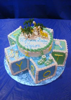 baby shower cake - of course I love this on: tropical!