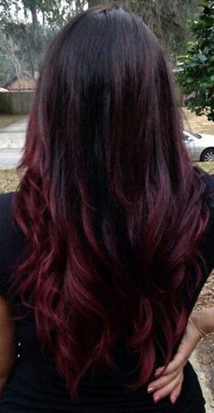 Dark Brown Hair Colour with Red Ombre