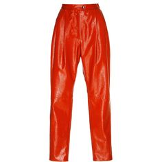 Vivetta Parga High-Waisted Leather Pant featuring polyvore women's fashion clothing pants bottoms red high waisted leather pants high-waisted trousers genuine leather pants high rise pants tapered leg pants