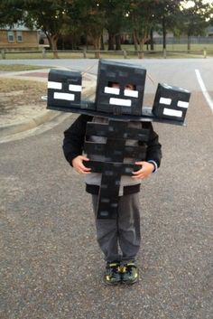 My 6 year old's Wither costume my husband and I made. - Album on Imgur Minecraft Halloween Costume, Minecraft Costumes, Halloween Costumes Kids Boys, Minecraft Party, Minecraft Stuff, Outdoor Halloween, Easy Halloween, Halloween Crafts, Halloween 2020
