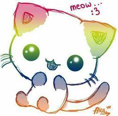 chat kawaii Plus Neko Kawaii, Chat Kawaii, Manga Kawaii, Cute Animal Drawings, Kawaii Drawings, Art Mignon, Dibujos Cute, Anime Cat, Neko Cat