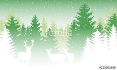 Vektor: Wald im Winter mit Rentieren - Grün