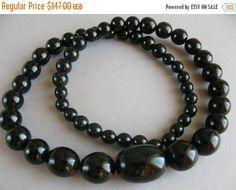 ON SALE Black Amber Bakelite necklace, Art Deco 1930s by AntiqueShoreline on Etsy