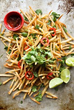 lebanese spiced french fries with clove spiced ketchup