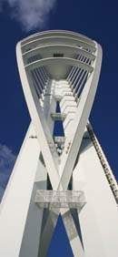 Unusual view of The Spinnaker Tower at Gunwharf Quays, Portsmouth