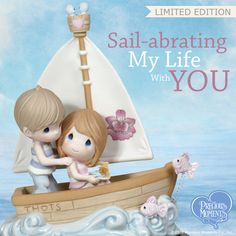 Come sail away with these cozy shipmates who travel through waves of love with bluebirds of happiness and fish that are literally jumping for joy! Precious Moments Quotes, Precious Moments Figurines, Me Time, No Time For Me, Hard Crafts, Space Theme Preschool, Cupcake Display, Jumping For Joy, Sweetest Day