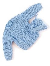 Aran-style pullover and hat for a baby.  So sweet.  Free pattern from Berroco.