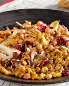 ... radicchio and endive are sauteed with garlic chickpeas and walnuts