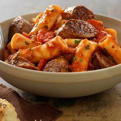 Johnsonville Italian Sausage Rigatoni- this is really good! I used Johnsonville sweet sausage and Newman's tomato and basil sauce. But I only used pkg of rigatoni because 1 lb is just too much pasta for that much sauce. Sausage Rigatoni Recipes, Pasta Recipes, Pork Recipes, Dinner Recipes, Cooking Recipes, Chicken Sausage, Meatball Recipes, Sausage Pasta, Spicy Sausage
