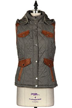 Coco & Simone - Olive Quilted Riding Vest With Leather Trim