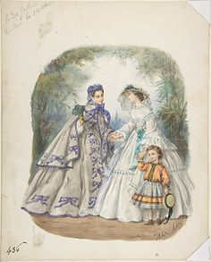 Illustration for a French fashion magazine 1862 Civil war era fashion