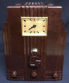 "AIR KING SKYSCRAPER Walnut ""Clock"" ART DECO 1933 Bakelite Radio | eBay"