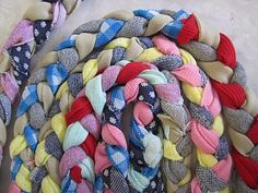 step by step instructions on rug braiding - Can use this as a Pioneer Day Decor - A Rug for Pioneer Story time, A place mat for plates, A Decor to place centerpieces for a table setting on.