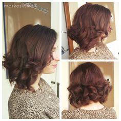 chocolate-mahagony brown color lob hairstyle