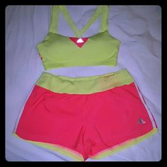 ADDIDAS Sports Bra & Track Shorts Set Brand new Never used  Bra has 3 Stripe underneath both arms on each side and beautiful key hole stripe Shorts has stripes on each side left and right This is an Authentic  ADDIDAS matching set New with no tags Price is negotiable  This is a great buy Addidas  Shorts