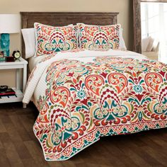 Lush Decor Clara Quilt 3 Piece Reversible Bedding Set, Full Queen, Turquoise and Tangerine King Quilt Sets, Queen Quilt, Lush, Up House, River House, Minimalist Bedroom, Bed Spreads, Luxury Bedding, Unique Bedding
