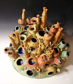 Coral Garden - high x diameter - Coral Reef Ceramic Sculpture by artist Diane Martin Lublinski Clay Tiles, Ceramic Clay, Porcelain Ceramics, Ceramic Pottery, Polymer Clay Sculptures, Sculpture Clay, Coral Reef Art, Biscuit, Clay Vase