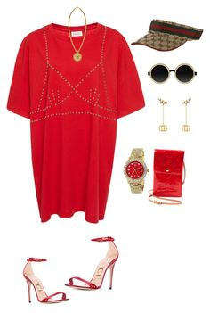 """Untitled #3504"" by mollface ❤ liked on Polyvore featuring Rolex, Gucci, Versace, Louis Vuitton and Moscot"