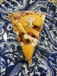 B & B:  grilled peach and goat cheese pizza