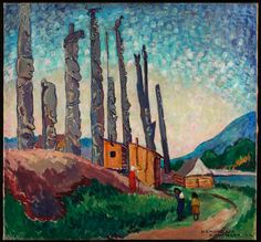"Emily Carr ""Gitwangak, Queen Charlotte Islands"" An amazing Canadian artist, who touches the archetypal, the elemental, the cthonic. Tom Thomson, Canadian Painters, Canadian Artists, Totems, Emily Carr Paintings, Toronto, Art Gallery Of Ontario, Art Chinois, Post Impressionism"
