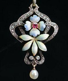 Austria-Hungarian late Victorian early Art Nouveau Diamond and Enamel Pendant- Circa 1895