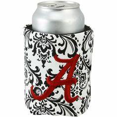 Alabama Crimson Tide Black-White Paisley Canvas Can Koozie $14.95 #StockingStuffer
