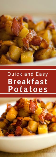These perfect breakfast potatoes are a quick and easy side that will make any breakfast more delicious! Loaded with bacon, red onion, and roasted garlic the only thing missing is a delicious runny yolk!