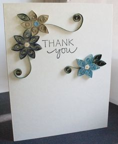 Handmade thank you card with paper quilled flowers.