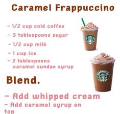 How to make a Starbucks homemade caramel frappé . - How to make a Starbucks homemade caramel frappé La mejor im - Coffee Drink Recipes, Milkshake Recipes, Easy Smoothie Recipes, Dessert Recipes, Milkshakes, Frozen Coffee Drinks, Blended Coffee Drinks, Salad Recipes, Cake Recipes