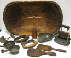 AMERICAN 19TH CENTURY PRIMITIVE KITCHEN UTENSILS: dough bowl and 11 assorted choppers and other utensils.