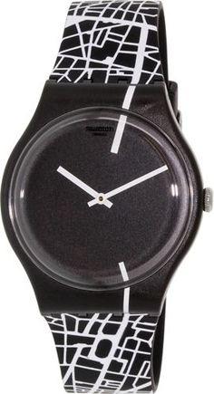 Swatch Men's Originals SUOB109 Black White Silicone Swiss Quartz Watch | eBay
