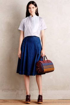 Chambray Circle Skirt by Tracy Reese